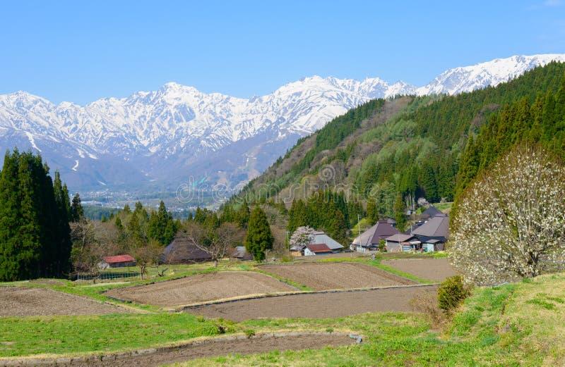 历史的村庄在白马,长野,日本 库存图片