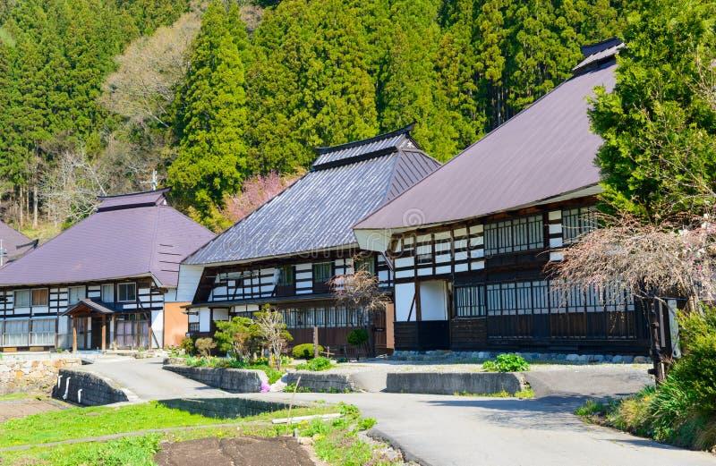 历史的村庄在白马,长野,日本 免版税库存图片