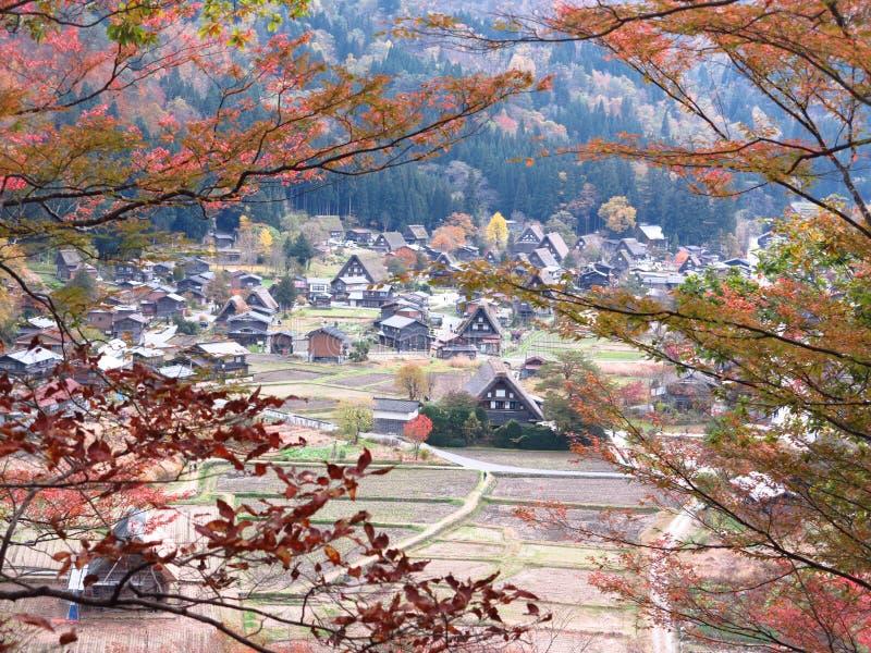 历史的村庄白川町去,高山市,日本 免版税库存图片