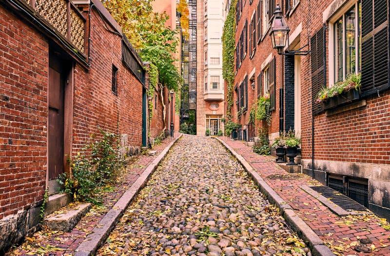 历史的橡子街道在波士顿 免版税库存照片