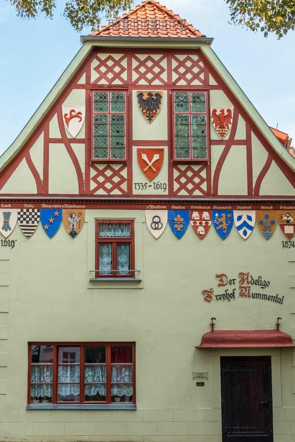 历史的法院大厦在奎德林堡,德国 免版税库存图片