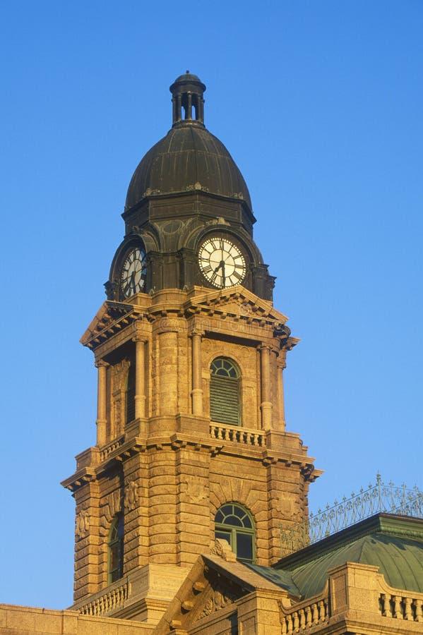 历史的法院大楼尖沙咀钟楼早晨光的, Ft 价值, TX 免版税图库摄影
