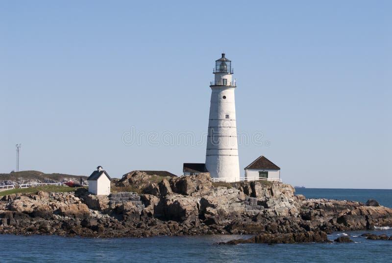 历史的波士顿港口灯塔在一个夏日 库存照片