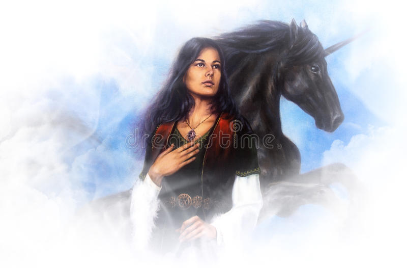 历史的礼服的妇女女神和在云彩的一只黑独角兽,在帆布的美好的详细的油画 免版税库存照片