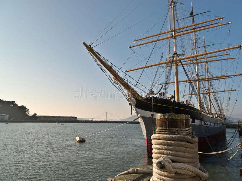 历史的船在旧金山湾 免版税库存照片