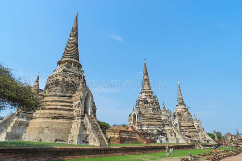历史的被毁坏的寺庙在世界遗产名录市, Ayuddhaya 免版税库存照片