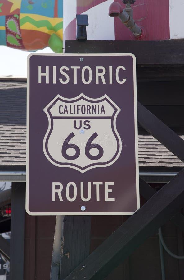 历史的路线66标志加利福尼亚 免版税库存照片