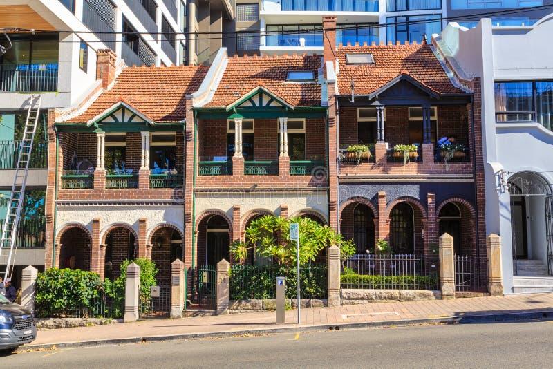 历史的连栋房屋在北悉尼,澳大利亚 免版税库存照片