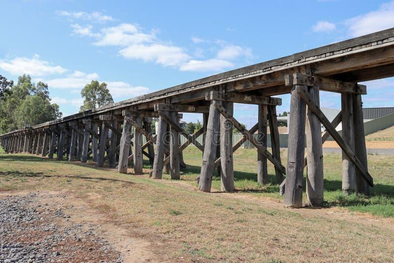 历史的铁路叉架桥在平的冬天,在城堡附近 免版税库存照片