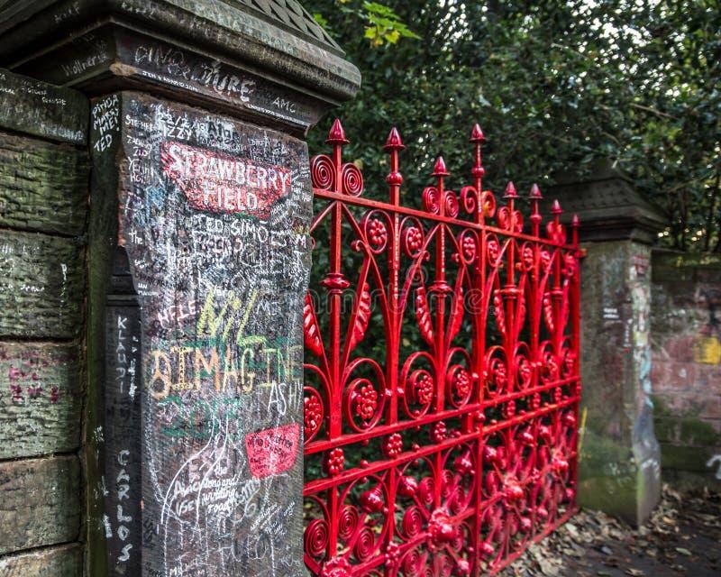 历史的门看法对草莓领域入口的  库存图片