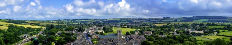 历史的集镇Wareham空中全景在多西特,英国 免版税库存照片