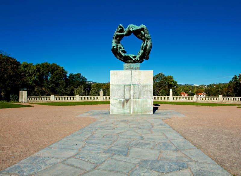 历史的雕象在Vigeland公园,奥斯陆 库存照片