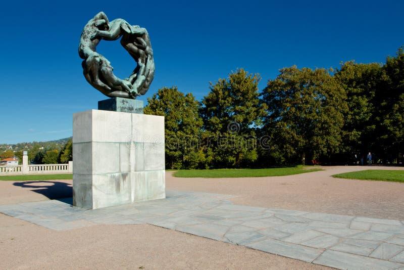 历史的雕象在Vigeland公园,奥斯陆 免版税库存照片