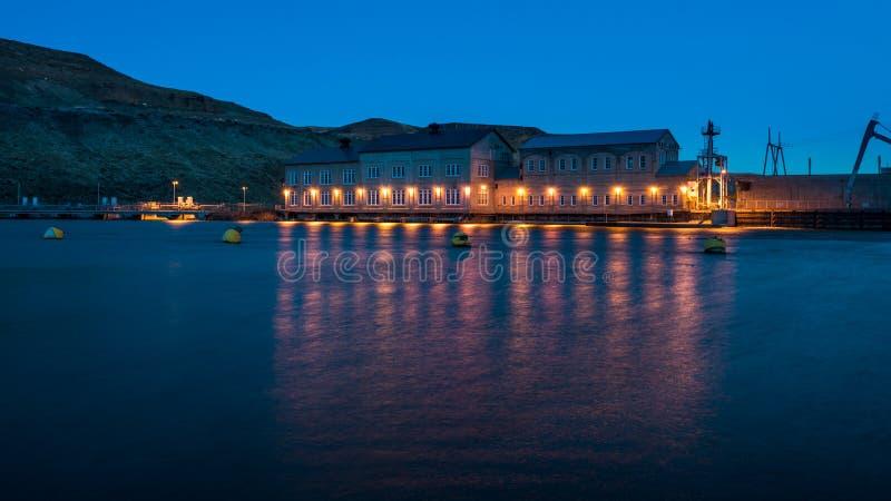 历史的水坝在爱达荷在晚上 免版税库存照片