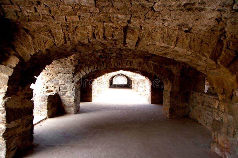 历史的Golconda堡垒在海得拉巴,印度 免版税图库摄影
