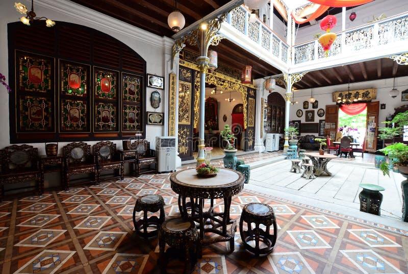 历史的Pinang Peranakan豪宅在乔治城,槟榔岛 免版税库存照片