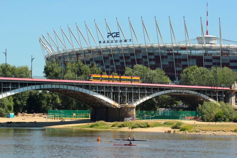 历史的Poniatowski桥梁在华沙,波兰 免版税库存照片