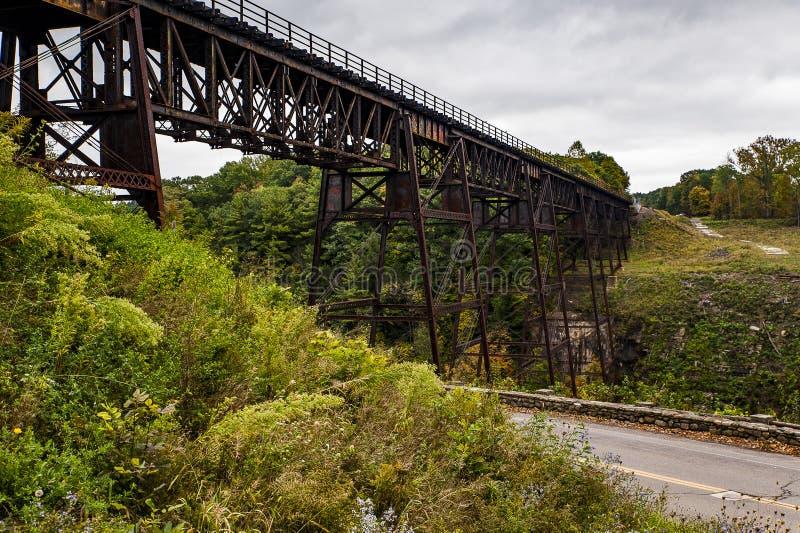 历史的Portage桥梁- Portage河- Letchworth国家公园-利文斯通&怀俄明县,纽约 免版税库存图片