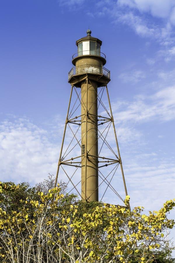 历史的Sanibel海岛灯塔在佛罗里达 免版税库存照片