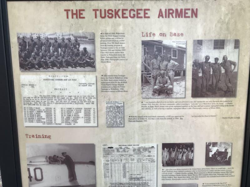 历史的Tuskegee空军纪念在Walterboro,南卡罗来纳,美国 库存图片