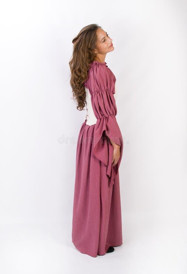 历史礼服的美丽的妇女 库存照片