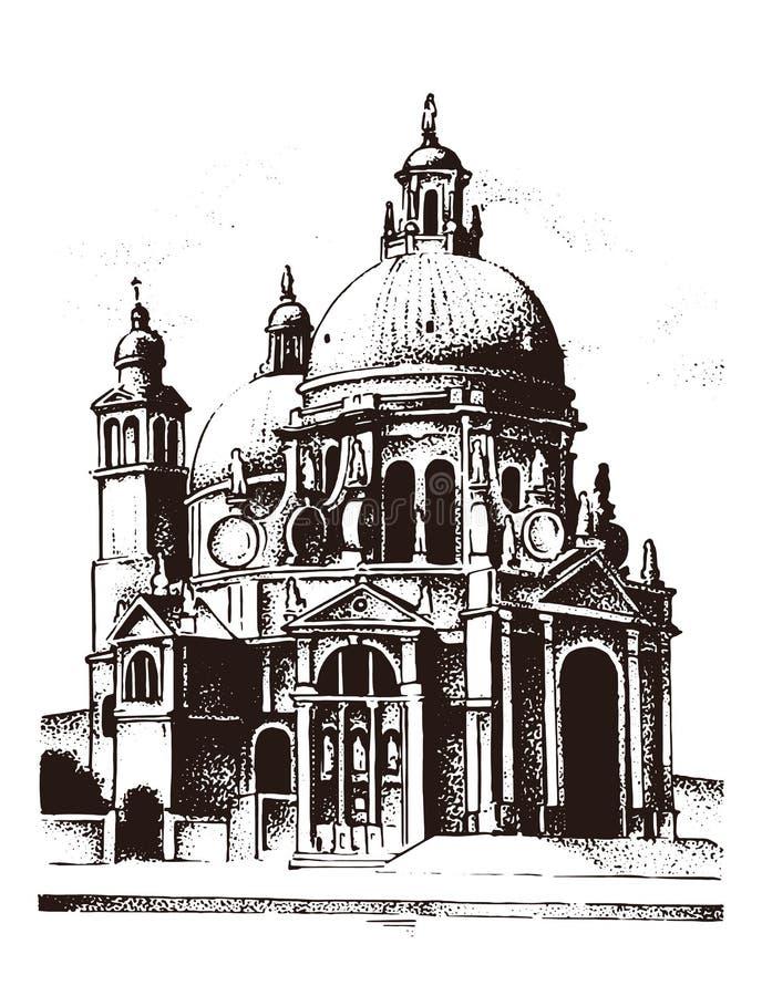 历史老大厦 门面在威尼斯 哥特式巴洛克式的样式 街道古老建筑学在意大利 欧洲城市 库存例证