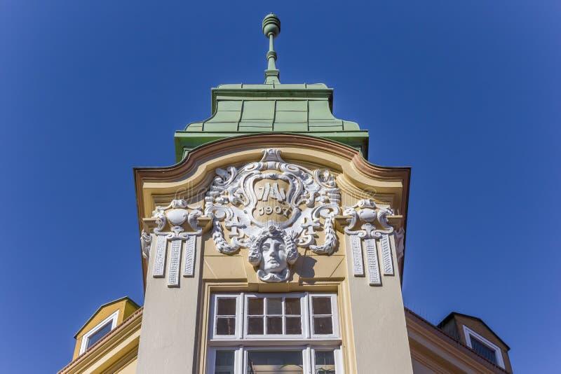 历史装饰的门面在施塔德县的中心 图库摄影