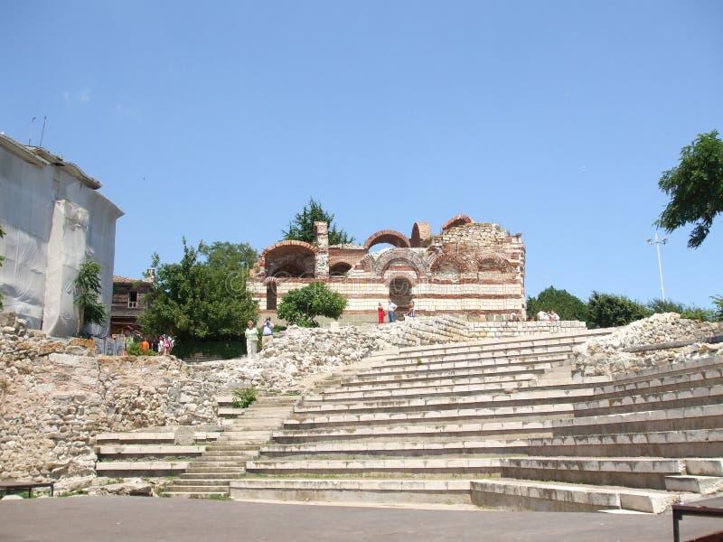 历史记录 古老圆形剧场的废墟在Nessebar 建造者 免版税库存照片