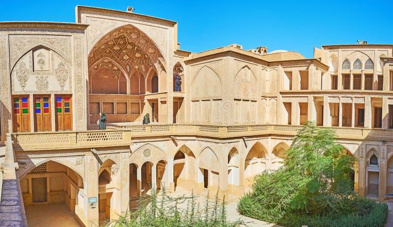 历史豪宅f喀山,伊朗 免版税图库摄影