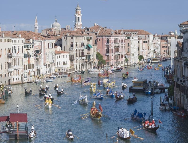 历史赛船会威尼斯 库存图片