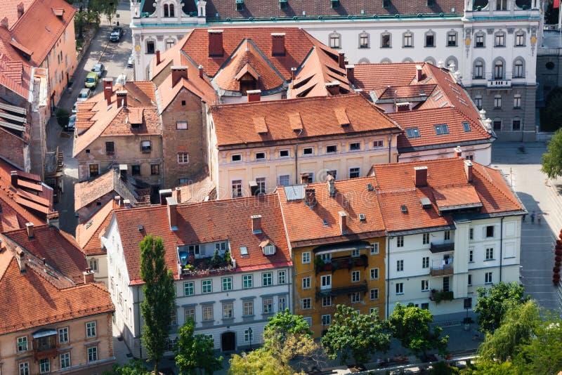 历史建筑在卢布尔雅那,斯洛文尼亚 鸟瞰图 库存图片