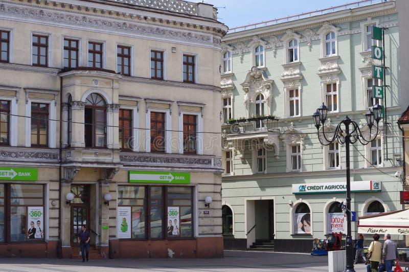 历史建筑在雷布尼克,波兰镇  免版税库存照片