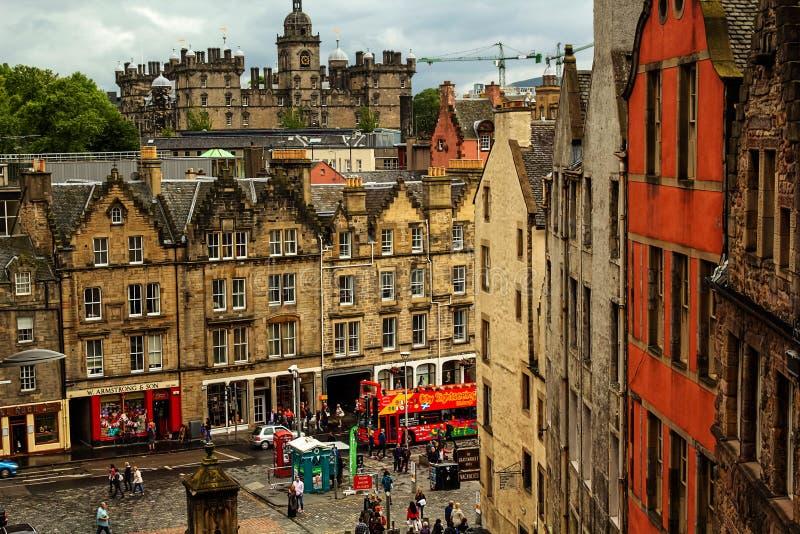 历史建筑学在草市场,爱丁堡,苏格兰,英国上 免版税库存图片