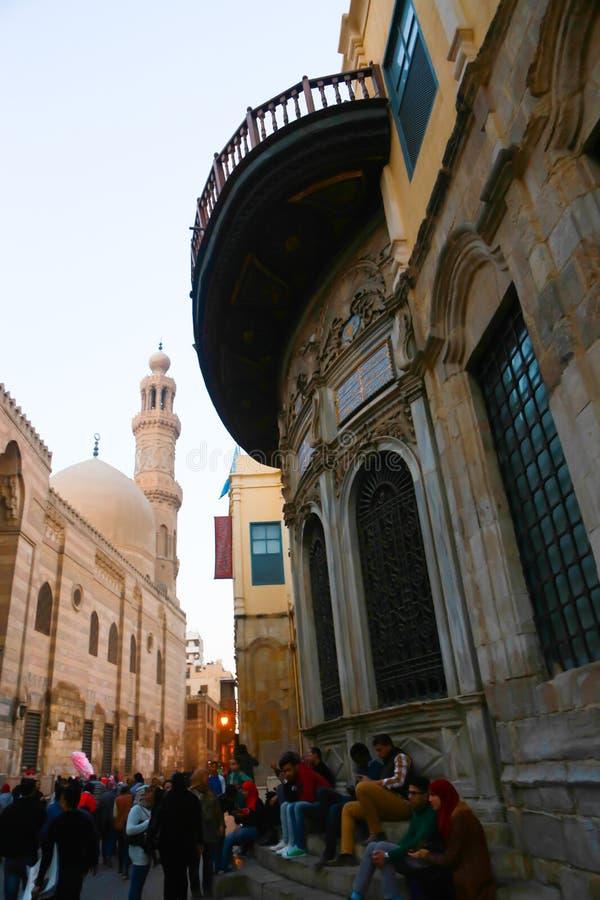 历史建筑老开罗在晚上,埃及 免版税库存图片