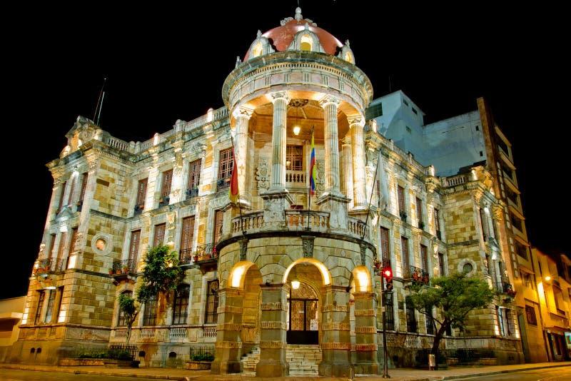 历史Cuenca,厄瓜多尔晚上长的风险 库存照片