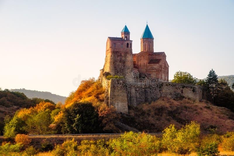 历史Gremi堡垒在日落的卡赫季州地区,乔治亚 免版税库存图片