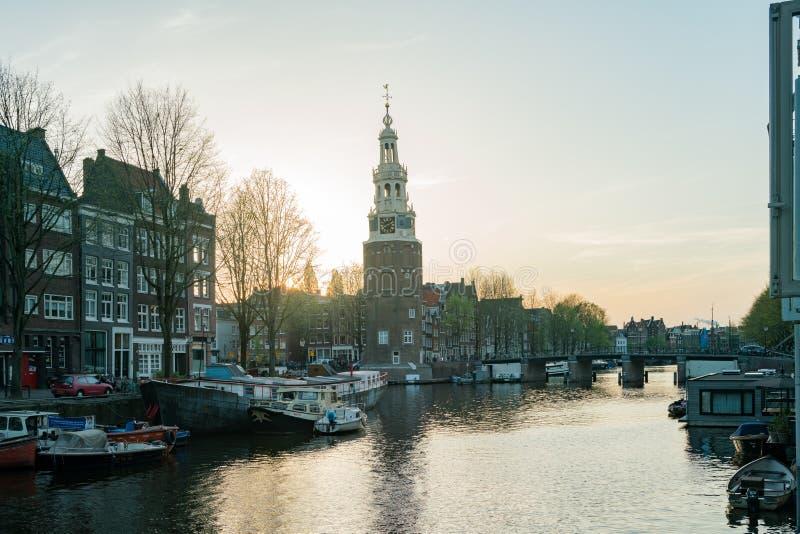 历史Montelbaanstoren塔和citysc的早晨视图 免版税图库摄影