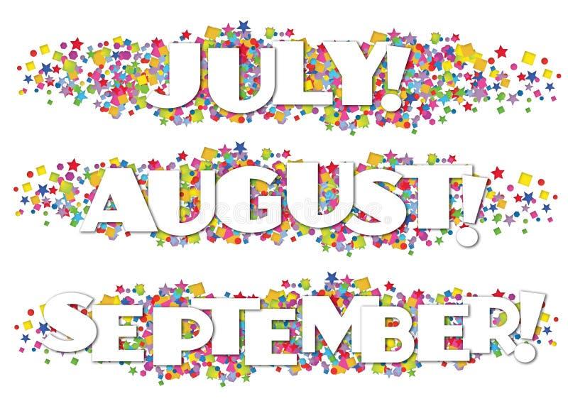 历月时事通讯装饰9月7月8月 皇族释放例证
