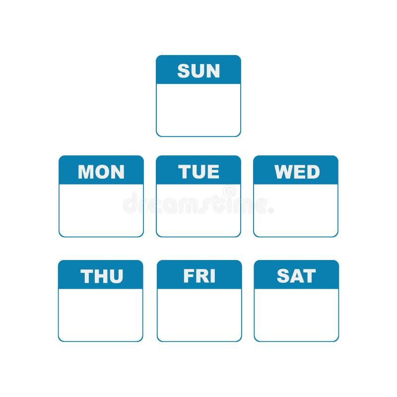 历法上的星期计划者 库存例证