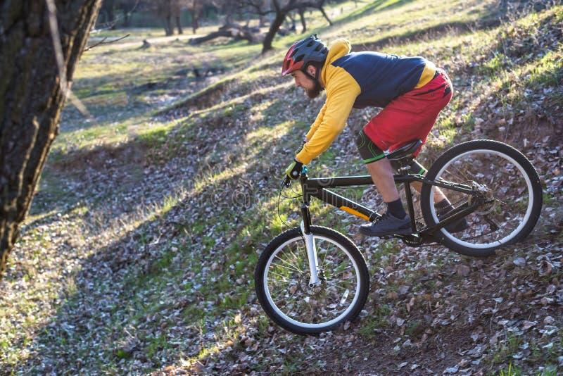 压低小山,自由空间的黄色毛线衣和红色短裤的专业骑自行车者 有效的生活方式 库存图片