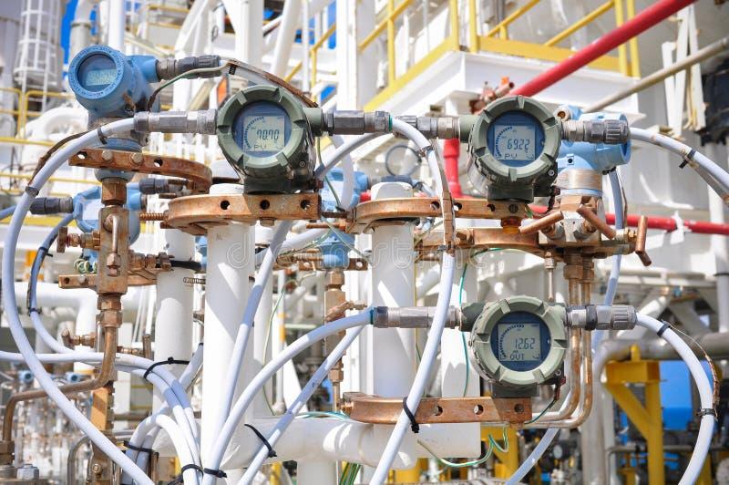 压力传送器在油和煤气过程中 免版税库存图片