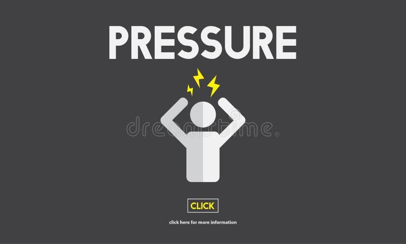压力害怕紧张的恐慌恐惧被注重的概念 库存例证