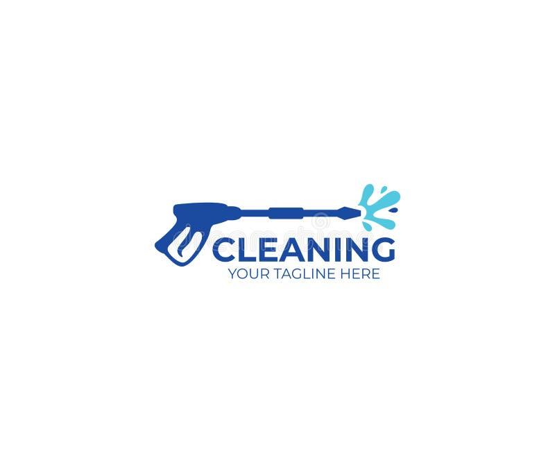 压力洗涤的商标模板 清洁传染媒介设计 库存例证