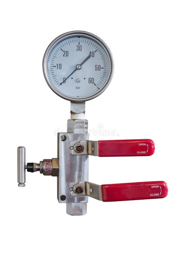 压力表和配件有双重块和排出阀繁多孤立的在丝毫与裁减路线 图库摄影