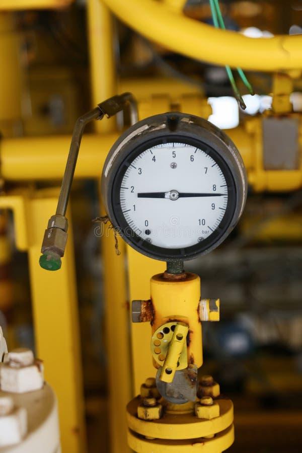压力表在油和煤气显示器的生产过程中适应,措施的测量仪在产业工作,产业背景 免版税库存照片