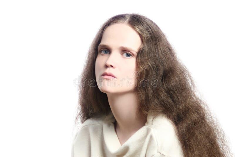 压抑忧郁的哀伤的妇女 免版税库存照片