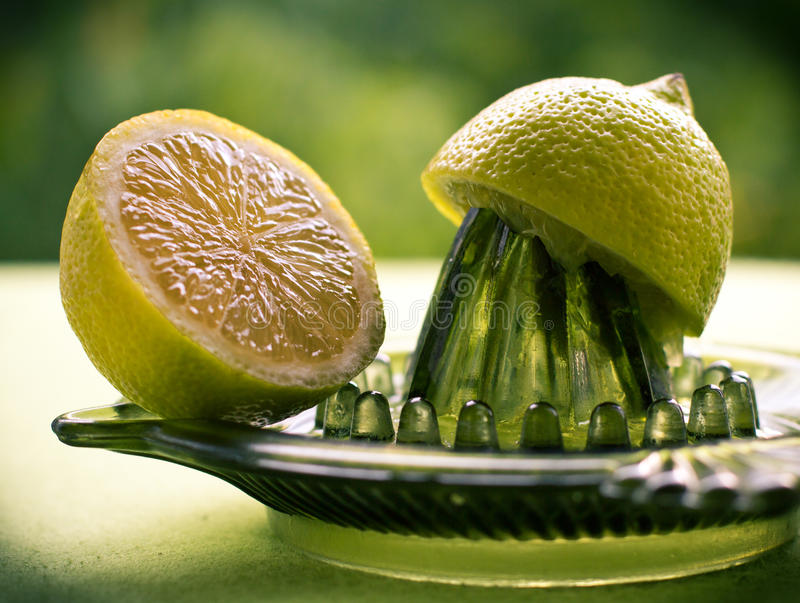 紧压柠檬汁 库存照片