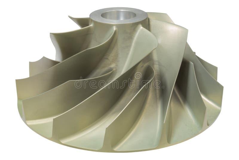 压气机叶轮疯狂从铝加工与CNC在白色背景的机器孤立 库存照片