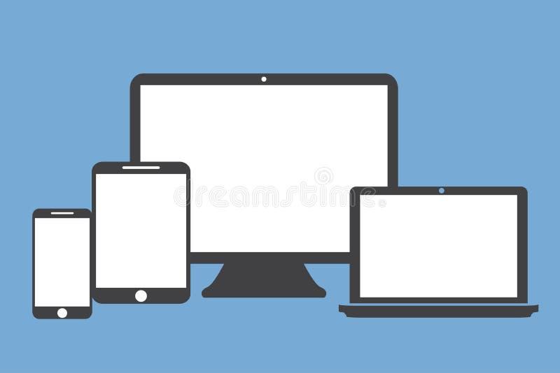 压片在蓝色背景的膝上型计算机屏幕电话平的样式 向量例证