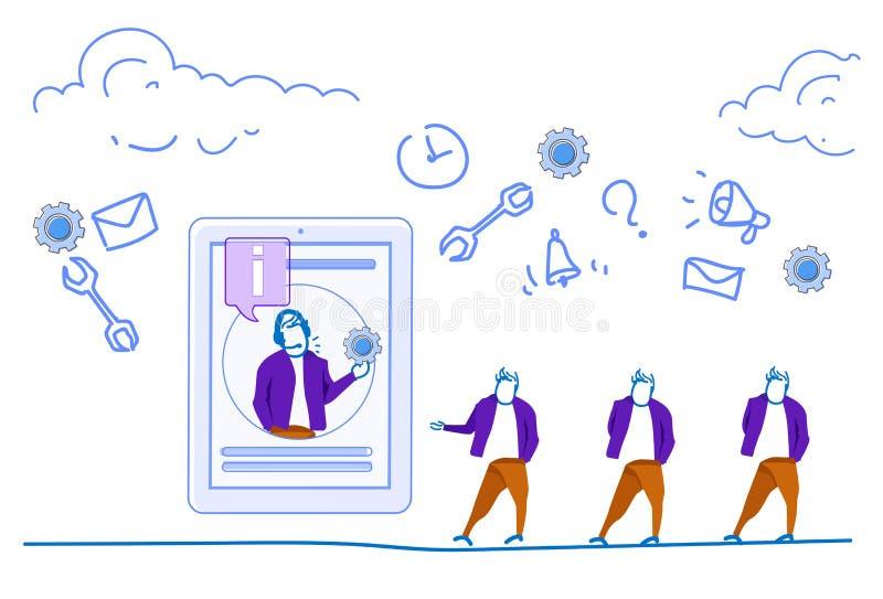 压片水平屏幕人信息标志流动app服务概念网上通信概念商人的剪影 皇族释放例证